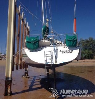达尔文,俱乐部,中文,帆船 达尔文有7米的潮差,单体船就在低潮时捆在旁边做船底工作。 21.png