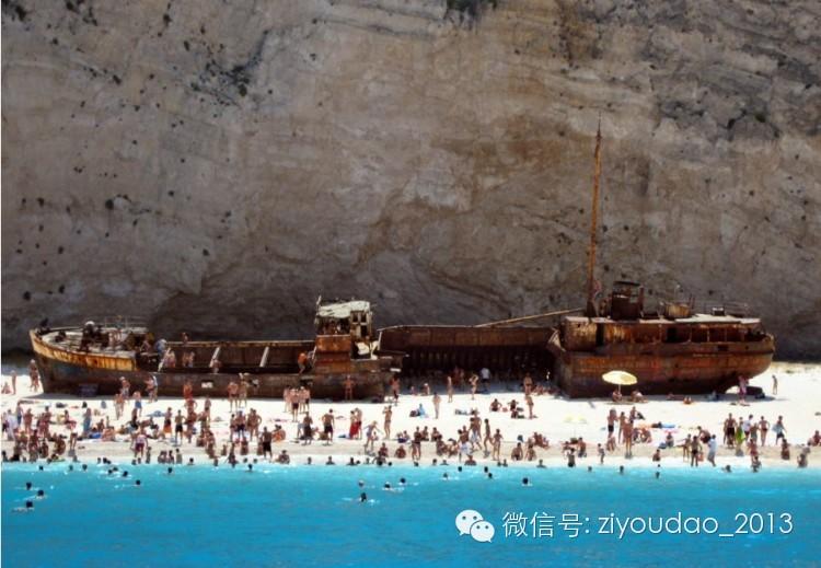 明信片,神秘感,海洋,希腊,沙滩 【海洋生活】世界最美的海滩:希腊沉船湾Navagio 0.jpg