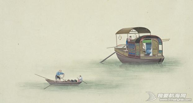 """中国船 英国伦敦维多利亚与阿尔伯特博物馆(V&A)收藏的通草画""""中国船"""""""