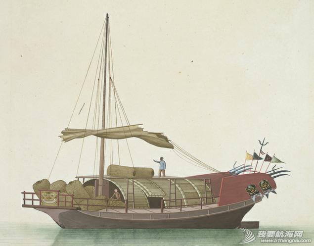 """中国船 英国伦敦维多利亚与阿尔伯特博物馆(V&A)收藏的通草画""""中国船"""" 10.png"""