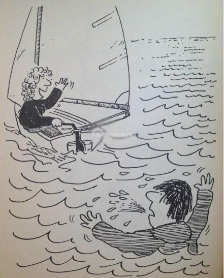 救生衣,落水,航行 航行中若有船员不慎掉入水中,要尽快采用以下办法解救。 31.png