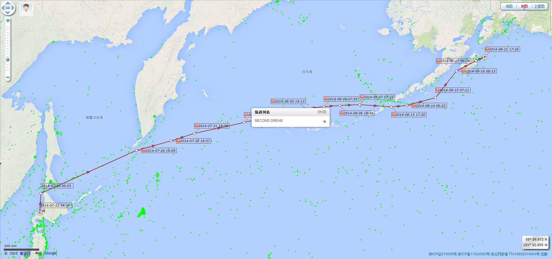 第二梦想号,Second,Dream,帆船,航海 第二梦想号最近一个月的航迹 20140723至20140822航迹
