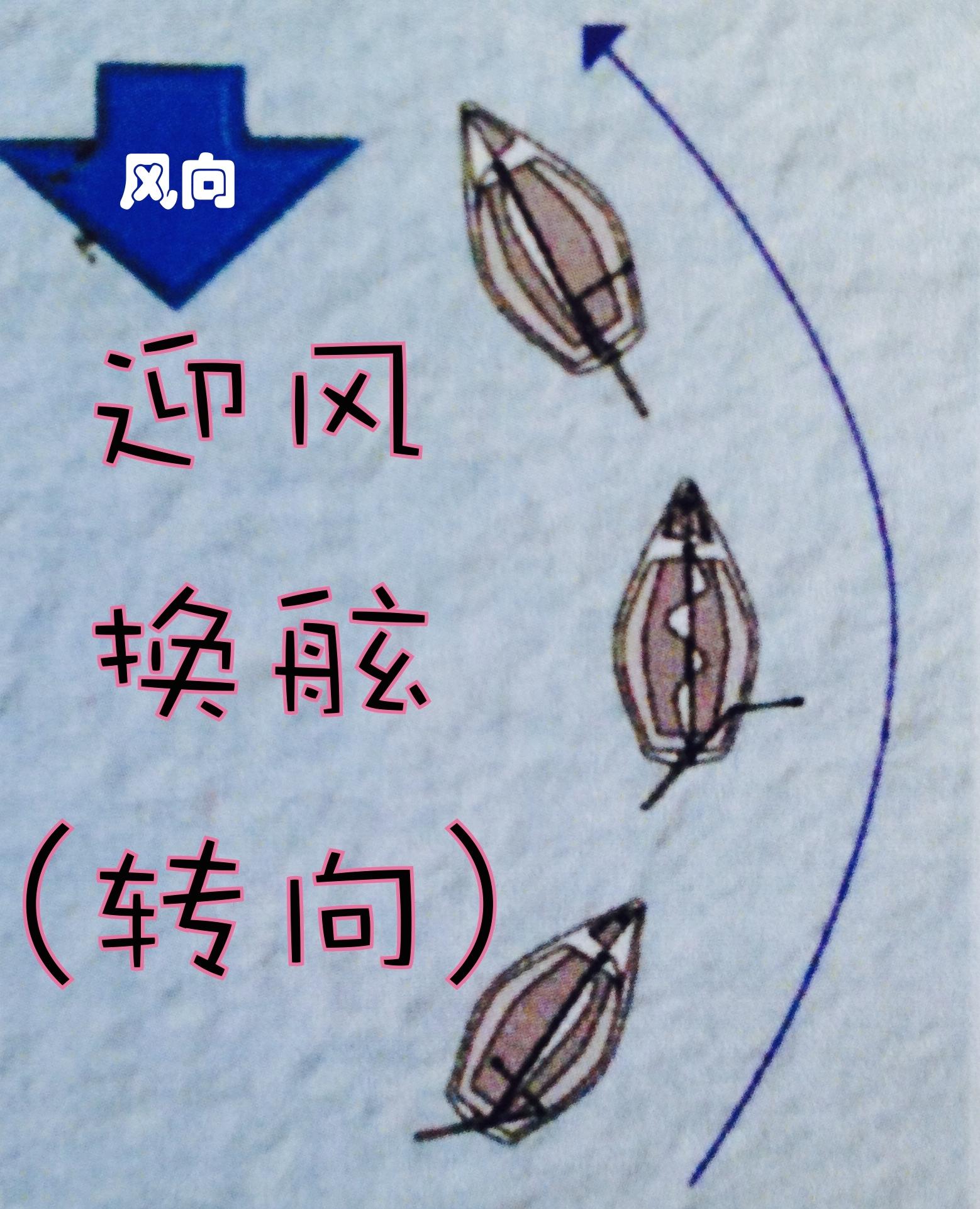 转向就是把船头调离原来的方向和路线,穿越过正顶风之后,驶向另一个方向。 9a迎风换舷.jpg