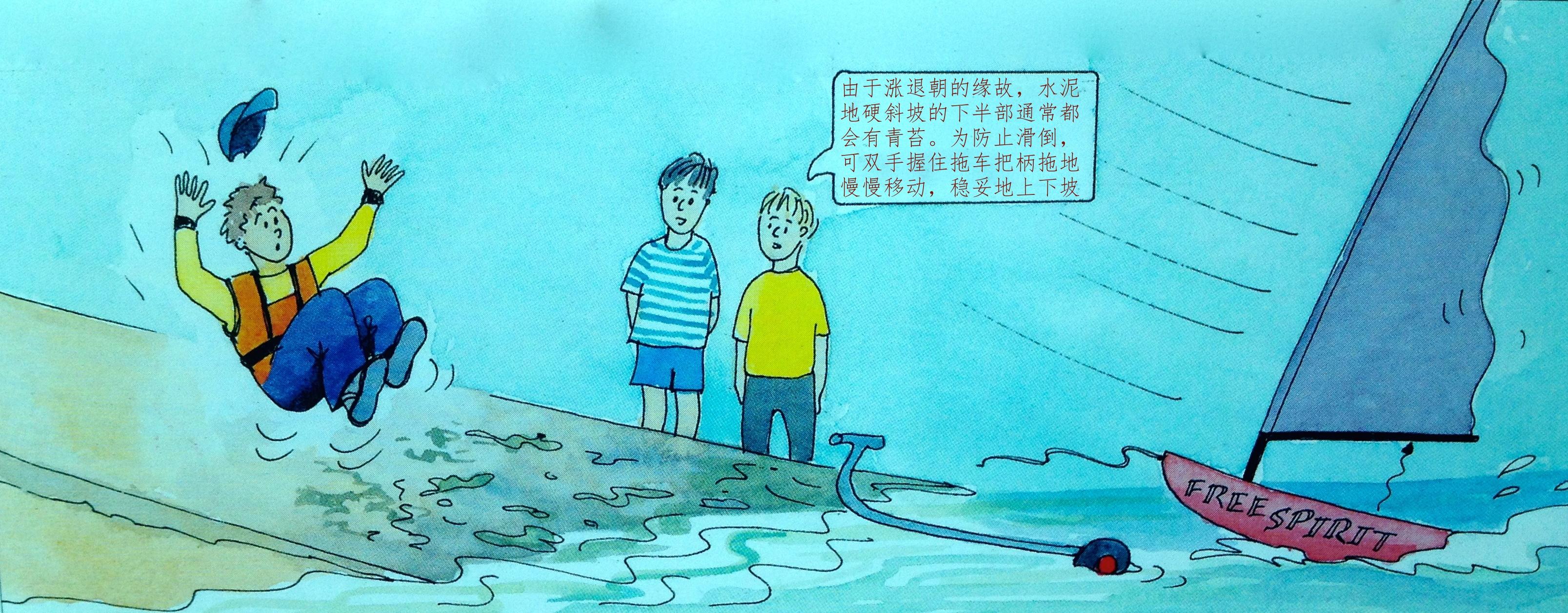 帆船,沙滩 水泥斜坡道是小帆船最为常见的一种上下水设施。 21a双人艇斜坡进出码头.JPG