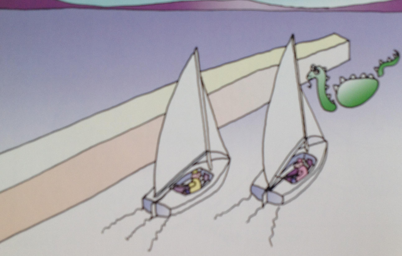 """当两船接近障碍物时,下风船可以呼喊""""迎风换舷的空间""""来寻求转向避让障碍物的空间。 74a迎风换舷的空间.jpg"""