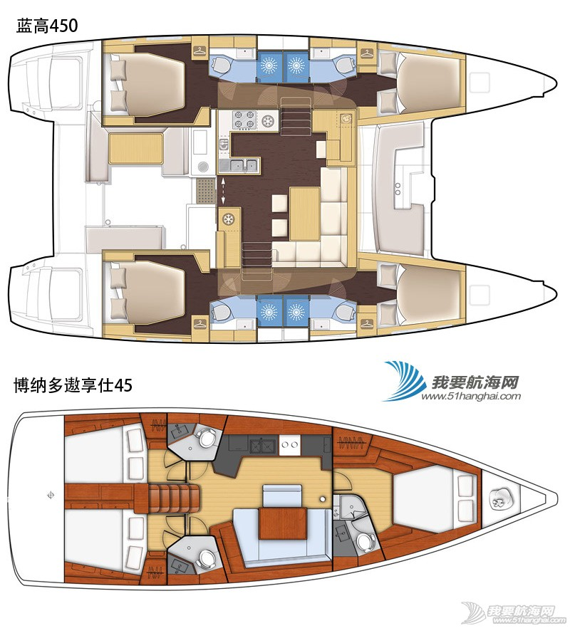 帆船 单体帆船好还是双体帆船好?单体双体巡航帆船全方位对比 帆船平面图
