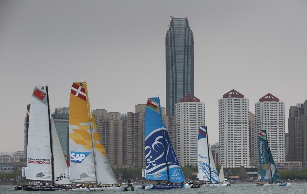 系列赛,青岛,阿曼,帆船,极限 青岛极限帆船系列赛  浪潮马斯喀特和阿曼航空队准备最后冲刺 3.jpg