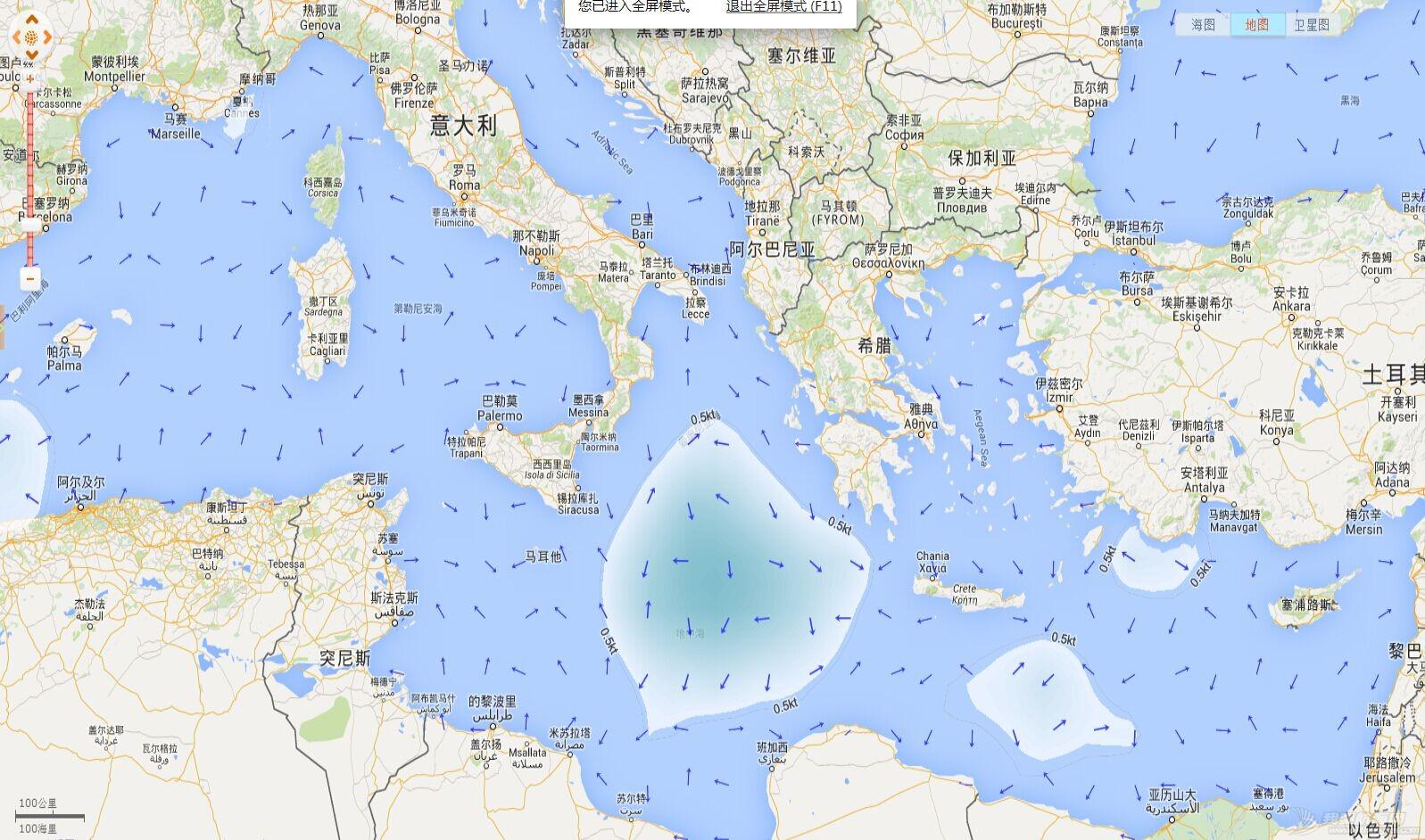 地中海水流问题 当前的地中海洋流 20150706
