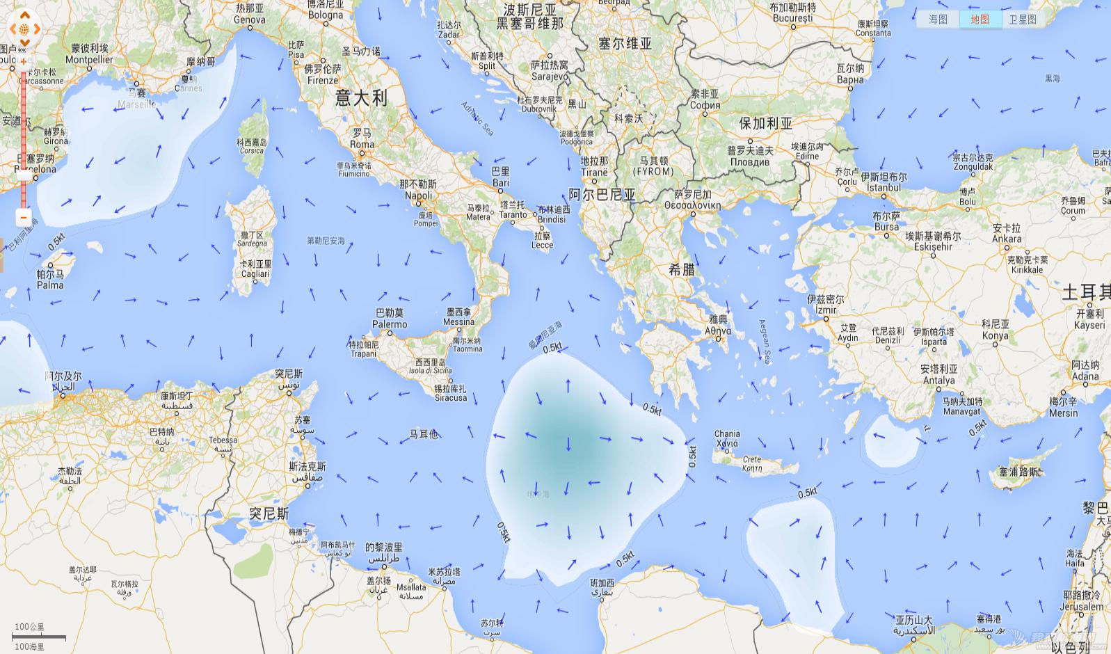 地中海水流问题 一天前的地中海洋流 20150706