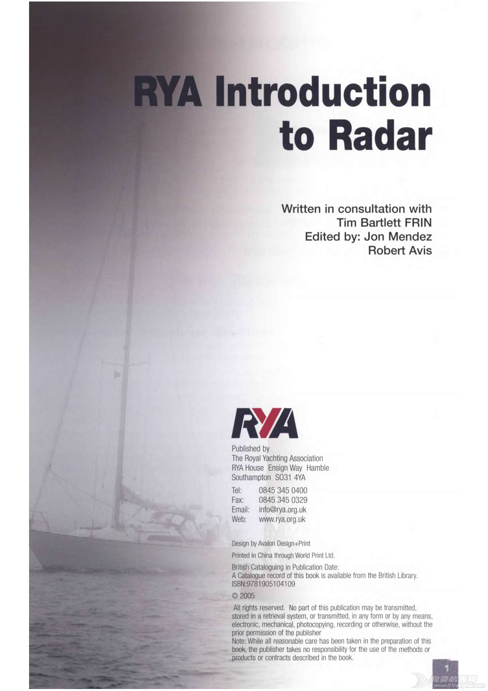 小伙伴,英文版,著作权,中文,帆船 ©RYA《雷达使用简介》An introduction to Radar.完稿 2