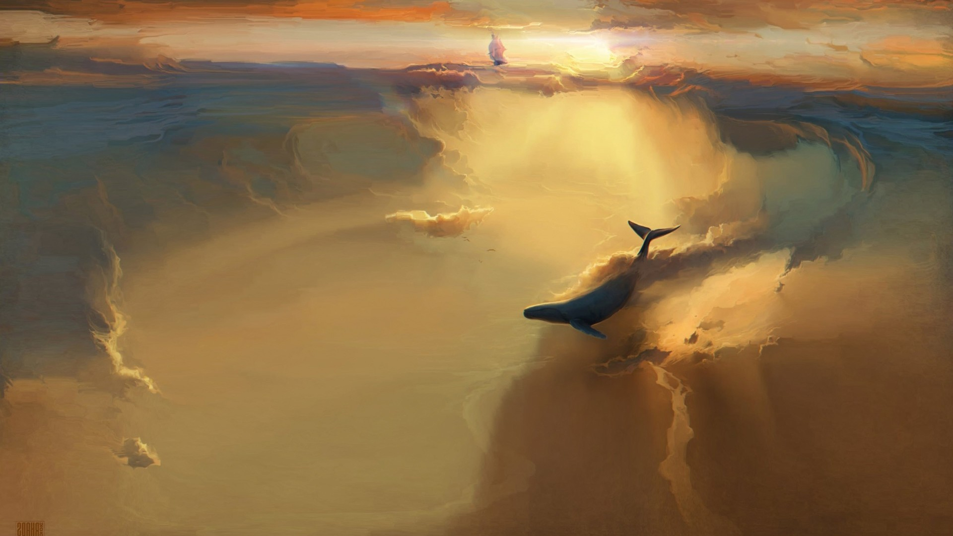美图,图片,创意 几张和航海有关的创意图片 云中帆船和海豚.jpg