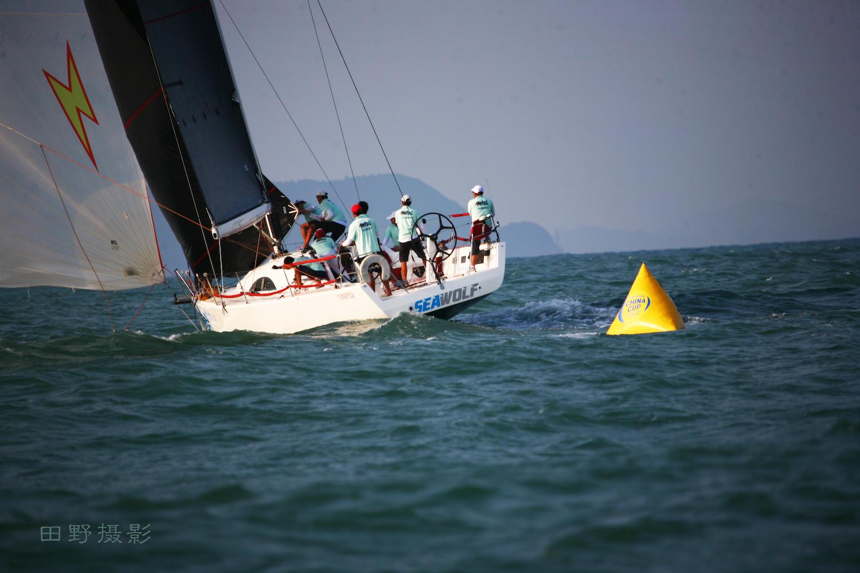 中国 中国杯海狼队绕标      田野摄影 中国杯帆船赛图片