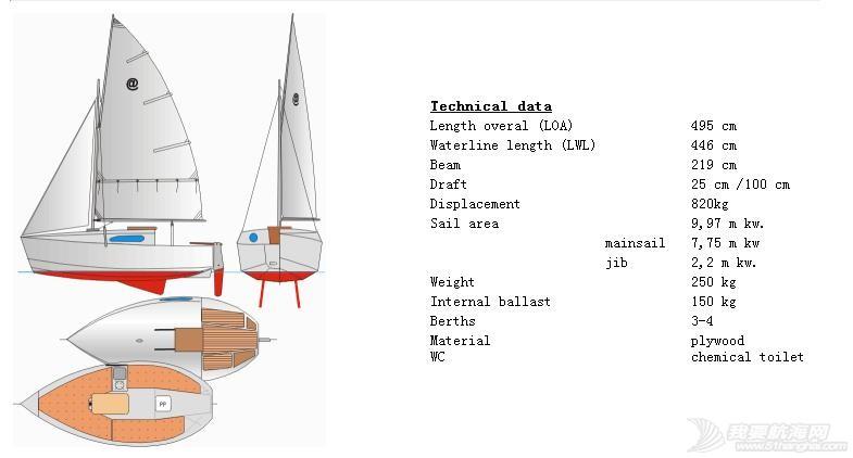 免费提供全套Length overal (LOA) 4.95m,(不用船舶登记)的帆船图纸