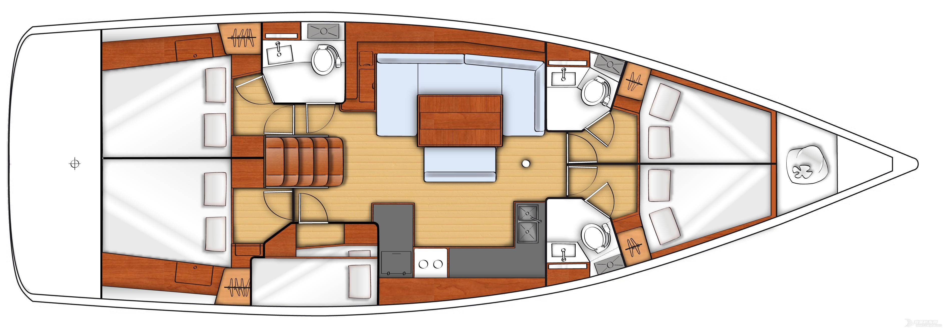 发动机,帆船,空间,型号 Beneteau Oceanis 48博纳多遨享仕48英尺单体帆船 plan-interieur-4.jpg