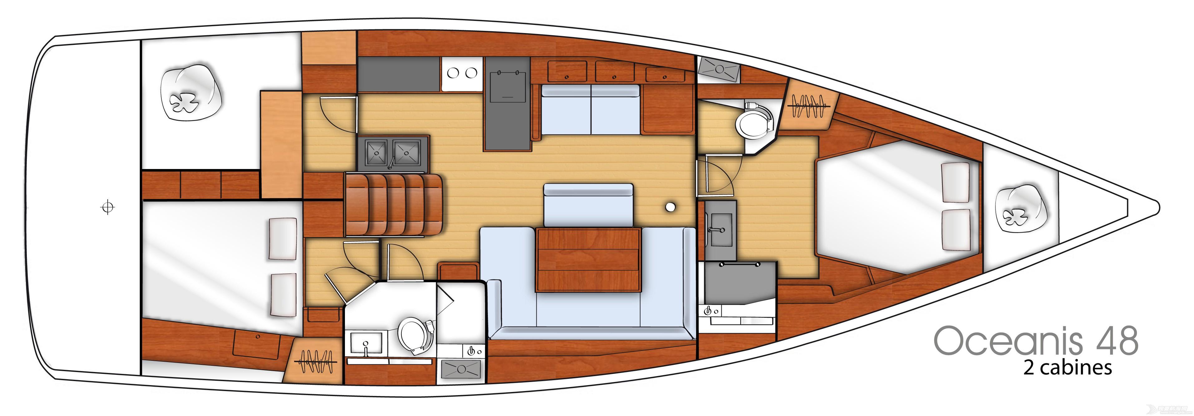 发动机,帆船,空间,型号 Beneteau Oceanis 48博纳多遨享仕48英尺单体帆船 plan-interieur-1.jpg