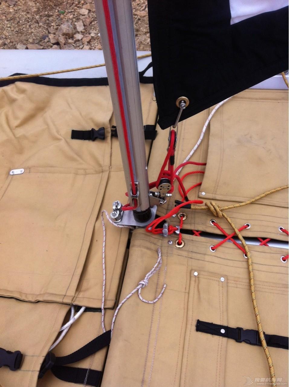 钢丝绳,热那亚,帆船,把手,空间 在家造帆船(下篇) 新增加的夹绳器和前储物口袋,使用锚时中间可打开