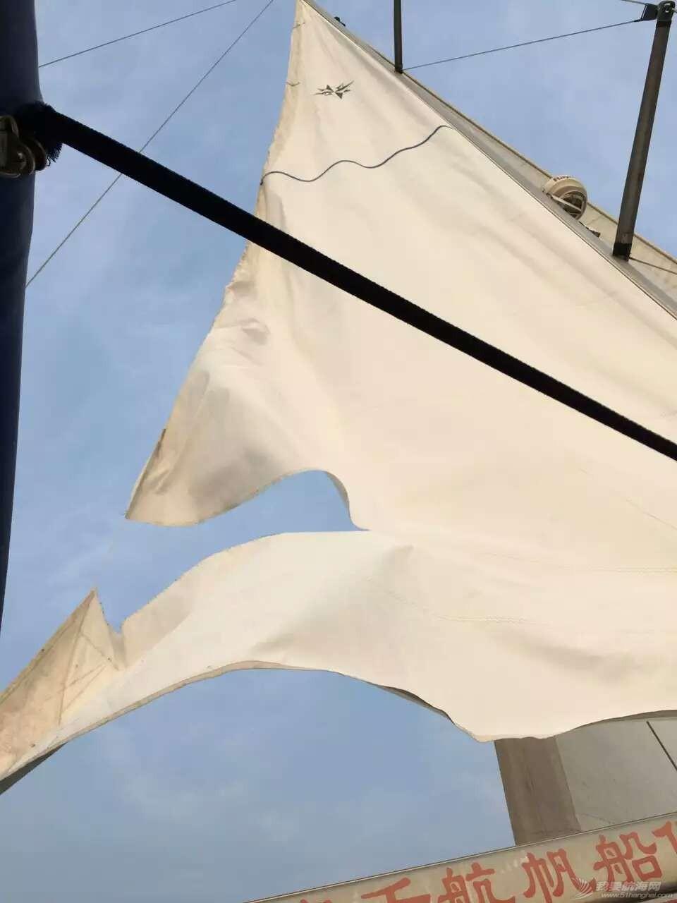 人生第一次长航-参加我要去航海-千航帆船队-环渤海拉力赛 撕裂的主帆