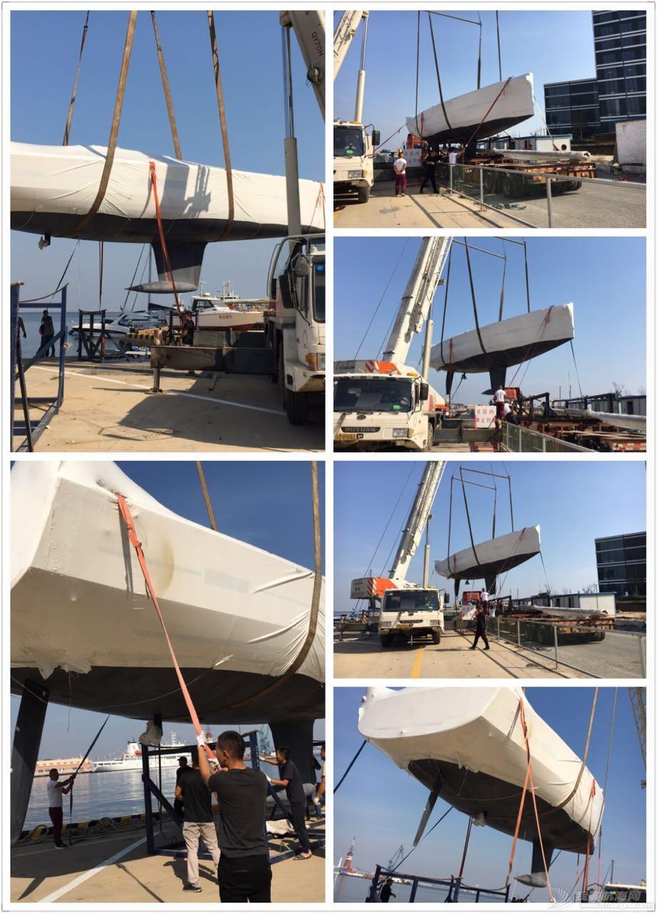 法国,帆船 51尺法国DUFOUR大帆船到港安装桅杆 1.jpg