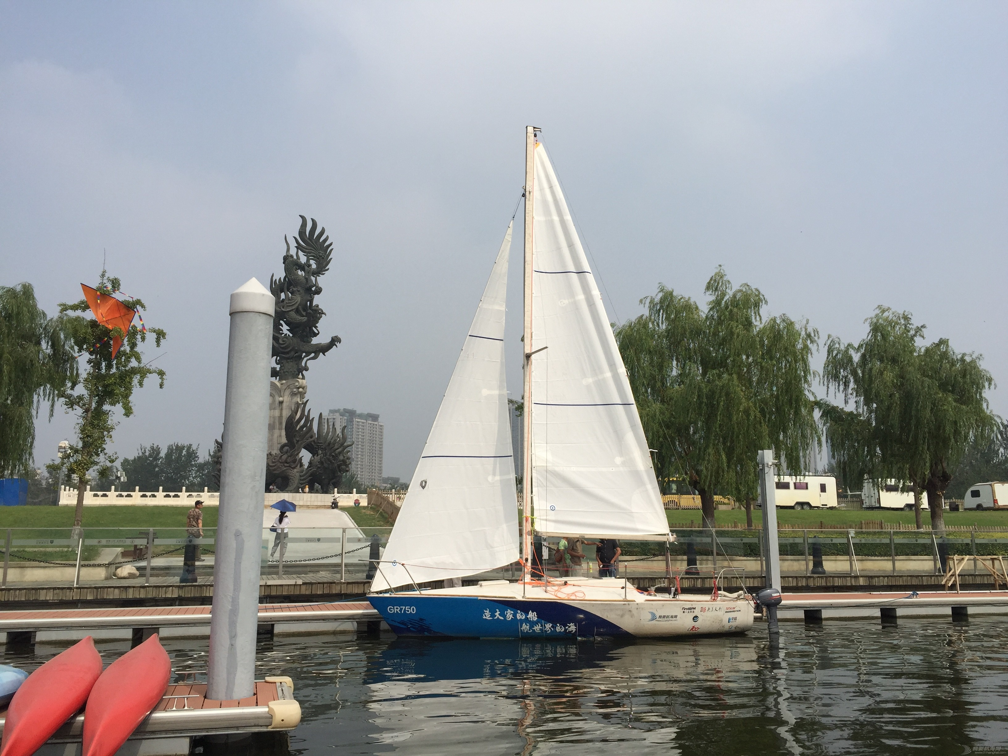 GR750全帆升起进行水上航行测试